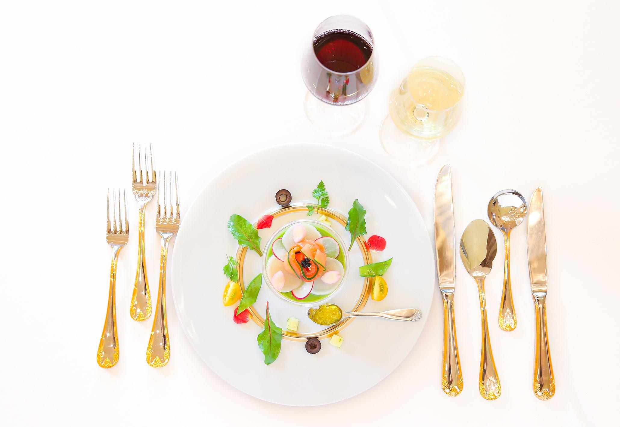 【前菜】4種類の野菜のムース 彩り野菜添え | 愛媛県西条市の結婚式場ベルフォーレ西条
