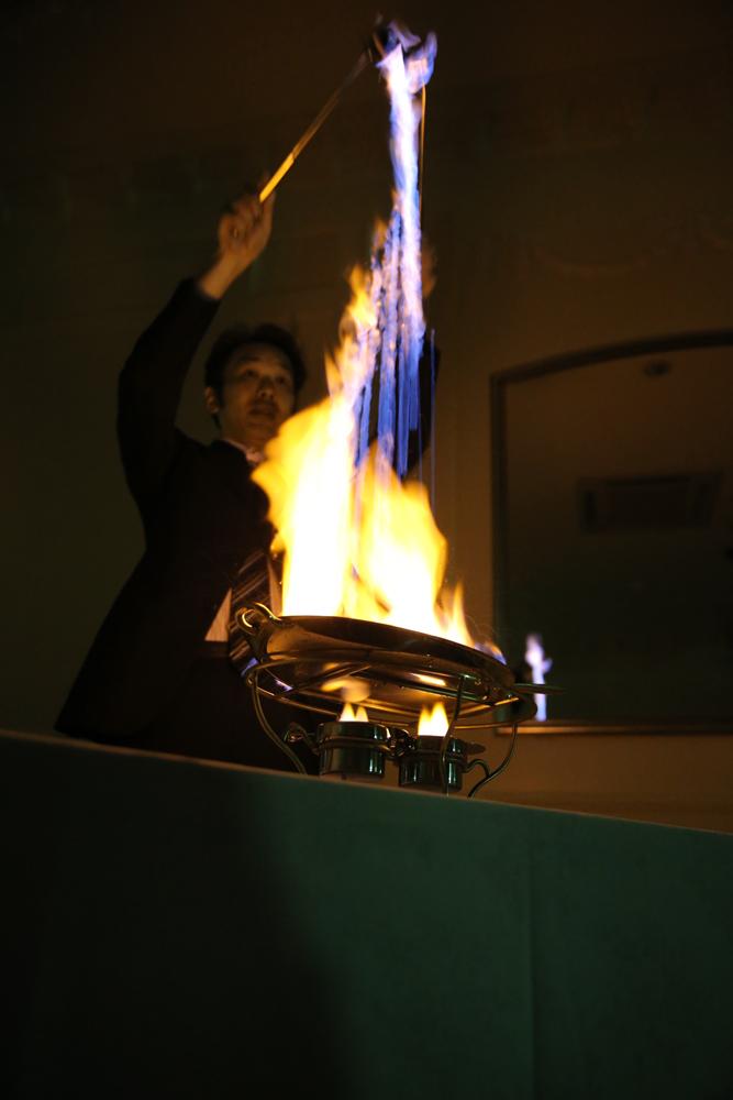 デザートタイムにはフランベの演出。盛り上がります! | 愛媛県西条市の結婚式場ベルフォーレ西条