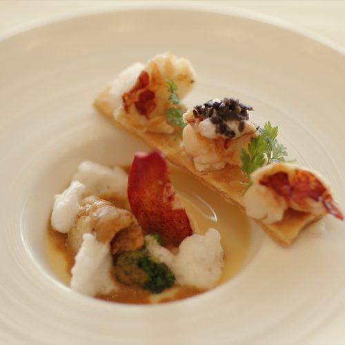 【魚料理】ベールを被ったサザエとキノコのクリーム煮 香草のバターコロッケソース