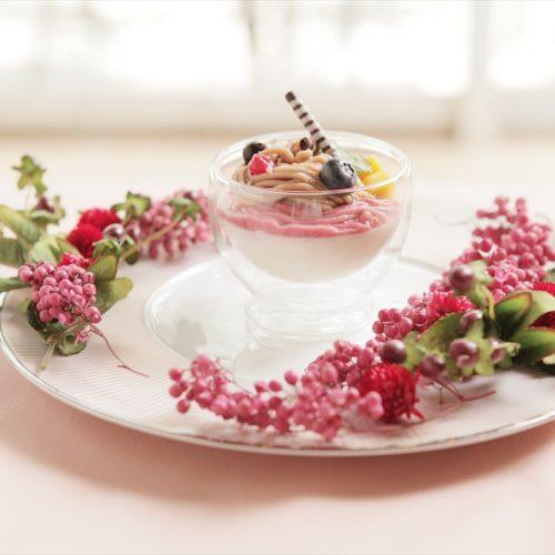 【デザート】カシスと栗のモンブラン パンナコッタのパルフェ